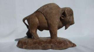 HAND CARVED WOODEN BISON / BUFFALO
