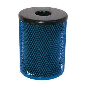 Play Commercial Park 32 Gal. Trash Receptacle  Portable, Diamond, Blue
