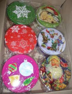 Cookie Candy Fudge tins 2 lb round Christmas gifts gift box puppy