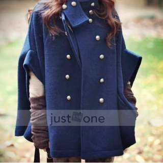 Fashion Women Lady Wool blend Double breasted Poncho Cape Jacket Coat