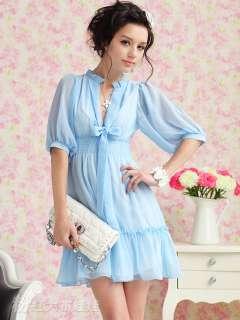 New arrival Bowtie Women Chiffon Pink Blue White Dresse Tops