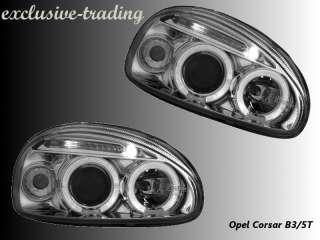 Opel CORSA B Scheinwerfer ANGEL EYES LED CHROM NEU #92#