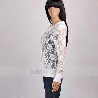 Sexy Transparent Rose Spitze Chiffon Langarm Shirt T Shirt Bluse Jacke