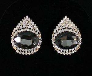 AUSTRIAN CRYSTAL RHINESTONE EARRING EARRINGS STUD GOLD PLATED E1194BLK