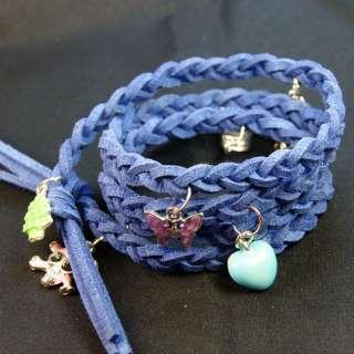 Fashion Pendant Velvet Rope Braid Blue Leather Bracelet