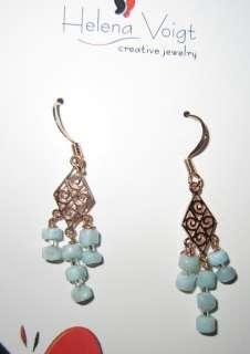 Rose Gold plated Rhombus Larimar Bead Gypsy Earrings