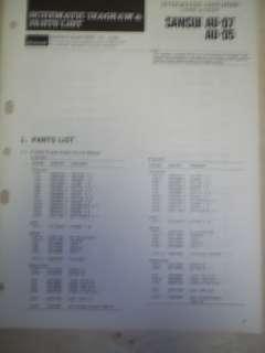 Vtg Sansui Service Manual~AU D7/D5 Integrated Amplifier