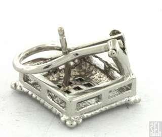 WHITE GOLD ELEGANT .36CT DIAMOND CLUSTER SQUARE SHAPED EARRINGS