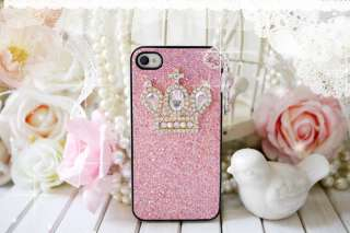 key)Crown pink Bling Hard Case Cover iPhone 4 4G