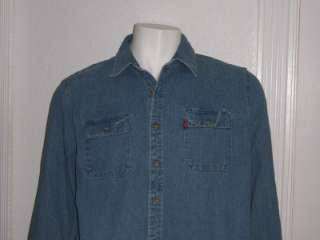 MENS LEVIS BLUE DENIM LONG SLEEVE SHIRT XL TWO HORSE BRAND BLUE DENIM