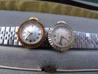 Two 1950s Rolex 18k Ladys Slide Charm Chameleon Watch Rose & White