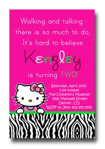 Custom Hot Pink & Green Hello Kitty Zebra Print Birthday Invitations
