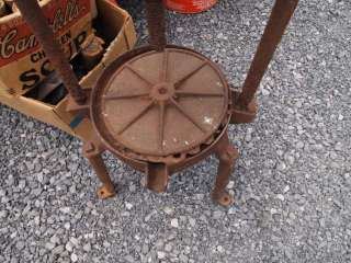 Antique Cast Iron Cider Wine Press Rusty Relic Plant Stand End Table