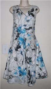 Bee White /Black Floral Print Sleeveless Empire Sundress Size Large