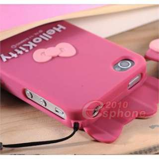 Rose Hello Kitty Full Body Hard Case Cover Skin for iPhone 4 4S + Free