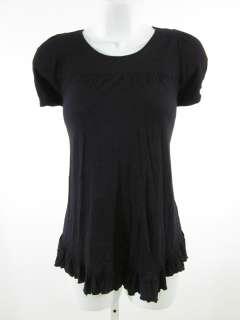 VELVET Black Ruffle Short Sleeve Blouse Top Shirt Sz S