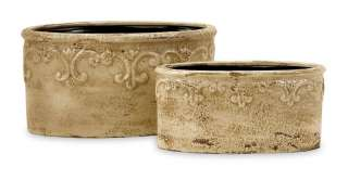 Ceramic Distressed White Fleur de Lis Garden Flower Pot Planters