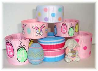 12Y+ OMG HAPPY EASTER HANGING EGGS GROSGRAIN RIBBON MIX