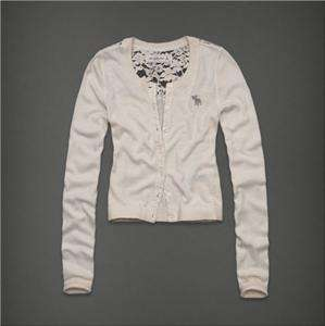NWT Abercrombie & fitch Women Gillian Cardigan Sweater Shirt Cream Top