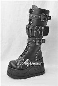 Demonia Stomp 314 goth gothic punk cyber knee high platform boots