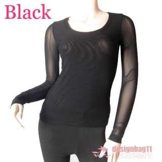 Women/Junior Plain Basic LONG SLEEVE Sheer Mesh Stretch T Shirts 6