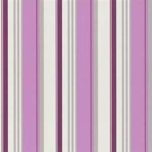 Vlies Tapete Creme Beige Brombeer Pink Streifen