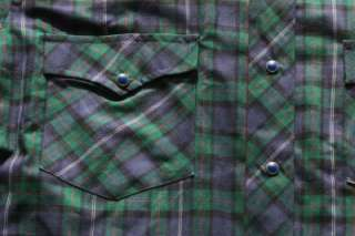 Vtg Roebuck Blue Snap Button Plaid Shirt Men Western M