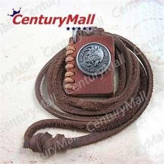 Genuine Real Mens Leather Necklace Boys Roman Warrior Pendant Choker