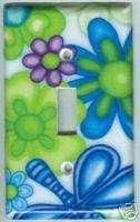 Retro Purple Blue Daisy Flowers Light Switch Cover