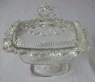 Indiana Glass Lace Edge Compote Dish w/Cover