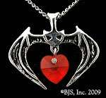 Sterling Silver Vampire Bat Necklace with Swarovski Crystal Heart