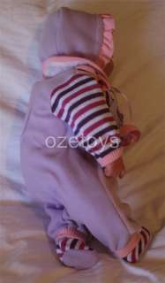 Baby Doll Vinyl Face Soft Body Purple and White with Cat Motif Sienna