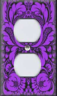 Light Switch Plate Cover   Purple And Black   Damask Design
