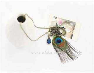 Cute Gorgeous Blue Eyes Peacock Long Feather Necklace x206 great gift