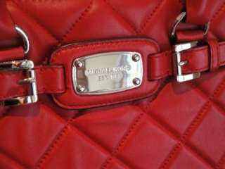 MICHAEL KORS LARGE RED HAMILTON QUILTED LEATHER PURSE BAG E/W TOTE