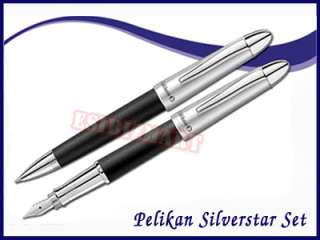 New Pelikan SILVERSTAR Fountain + Ballpoint Set (Black)