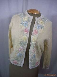 Vtg 50s 60s. Heavily Beaded Cardigan Sweater 38. Wool/Cashmere