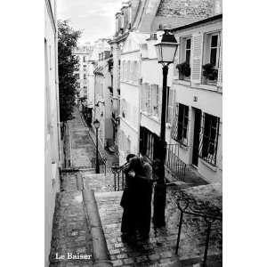 Paris   Le Baiser   Poster schwarz weiss Foto Paris   Grösse 61x91,5