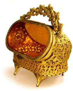 ANTIQUE RARE ORMOLU & BEVELED AMBER GLASS JEWELRY CASKET, FILIGREE