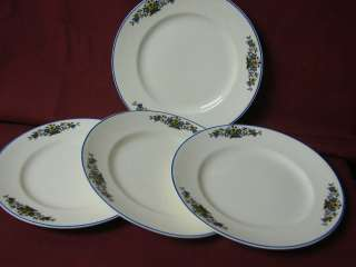 Knowles, Edwin. China Dinnerware ivory, blue yellow flower, set 4