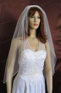 1T Finger Tip Diamond White Plain Wedding Bridal Veil