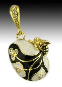 Egg Pendant Sterling Silver Gold Bee AUTHENTIC Russian