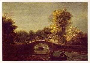 Kunst auf Postkarte 1954 Rembrandt Landschaft mit steinerer Brücke