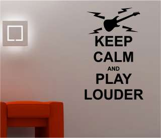PLAY LOUDER  music bedroom lounge wall art quote sticker vinyl DECAL