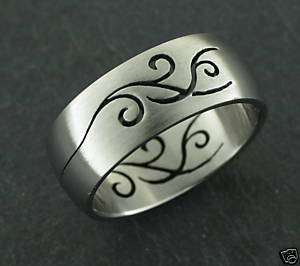 Laser Cut Ring Steel TRIBAL Tattoo Style StainlessSteel
