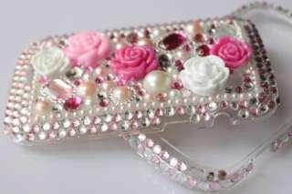 Bling Diamond Pink Rose Hard Case Cover For Blackberry Bold 9900 9930
