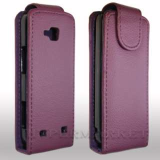NEW PURPLE LEATHER FLIP CASE FOR NOKIA C5 00 C5+SCREEN