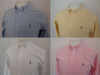 Lauren Boys Designer Small Pony Oxford Shirt   Blue White Yellow Pink