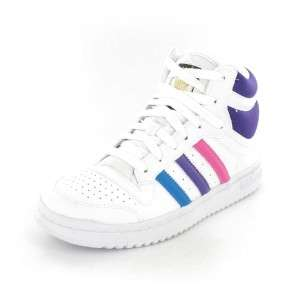 NEW ADIDAS TRAINER TOP TEN JUNIOR KIDS HIGH TOP WHITE PINK SIZE 10  6