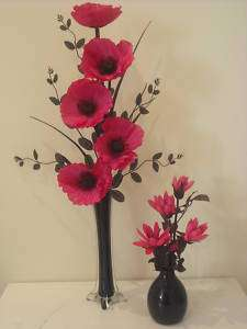 pair of pink & black silk flower arrangements in vase